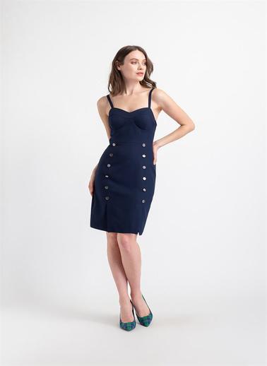 Rue Düğme Detaylı Kuplu Elbise Lacivert